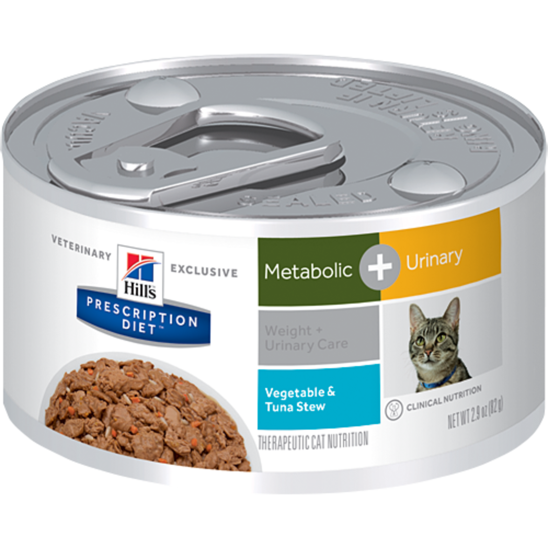 Hill's Prescription Diet Feline Metabolic Plus Urinary Cans Tuna & Vegetable Stew for Cats 82g image 0