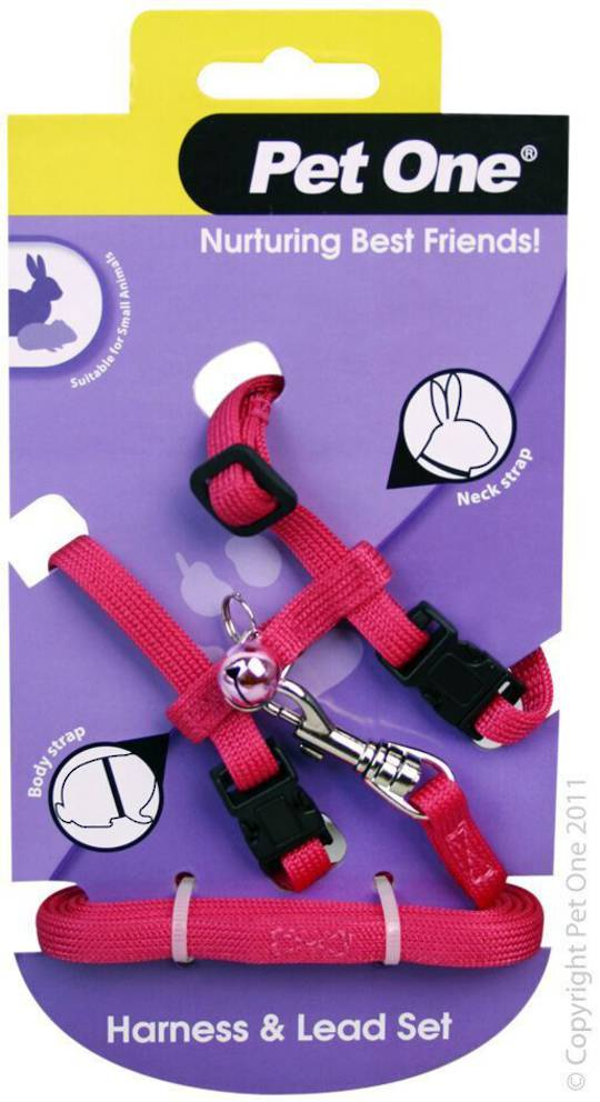 Pet One Leash & Harness for Rabbits and Guinea Pigs Pink