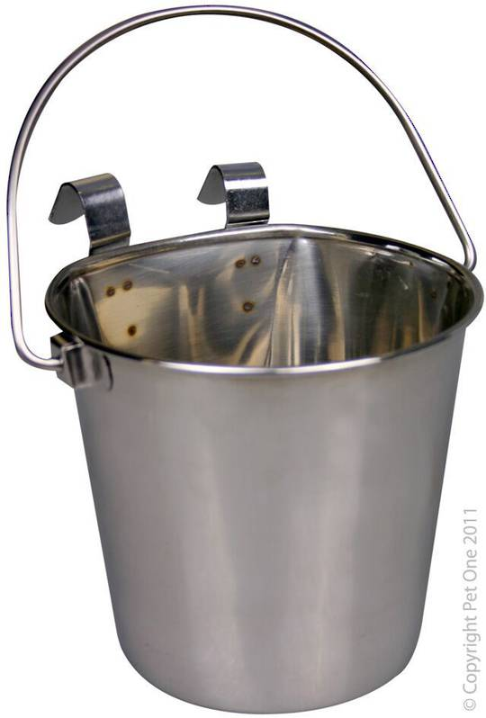 Pet One Hanging Flat Sided Stenless Steel Pail 4.55L