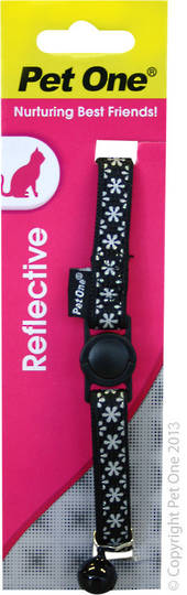 Pet One Collar for Cat & Kitten Reflective and Adjustable 10mm x 15-22.5cm Blue