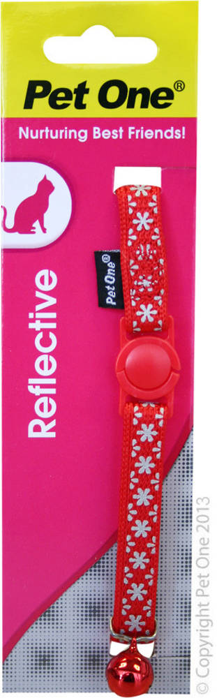 Pet One Collar for Cat & Kitten Reflective and Adjustable 10mm x 15-22.5cm Red