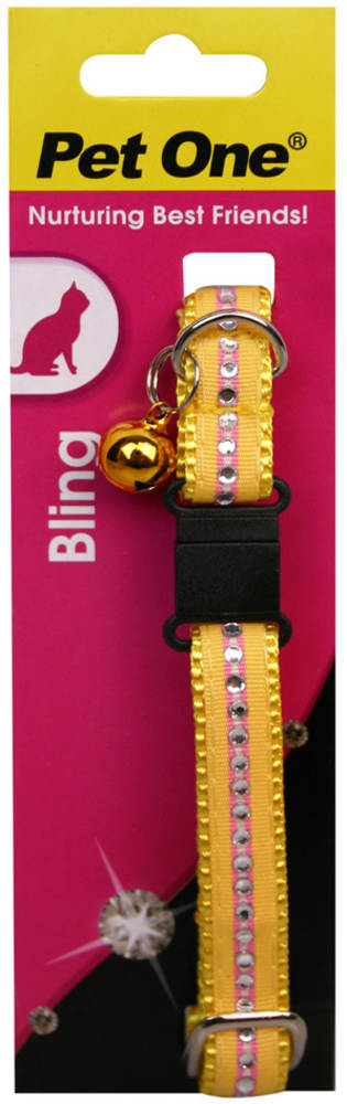 Pet One Collar for Cat & Kitten Bling with BREAKAWAY Clip 12mm x 30cm Yellow