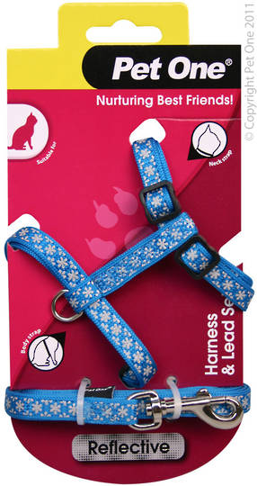 Pet One Harness & Lead Set for Cat & Kitten Reflective and Adjustable 10mm x 15-22.5cm Blue