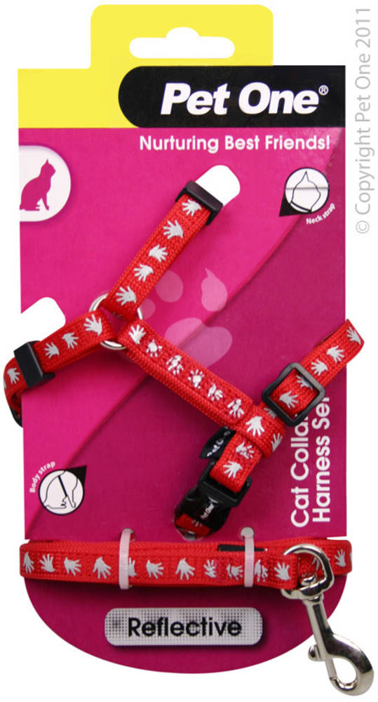 Pet One Harness & Lead Set for Cat & Kitten Reflective and Adjustable 10mm x 15-22.5cm Red