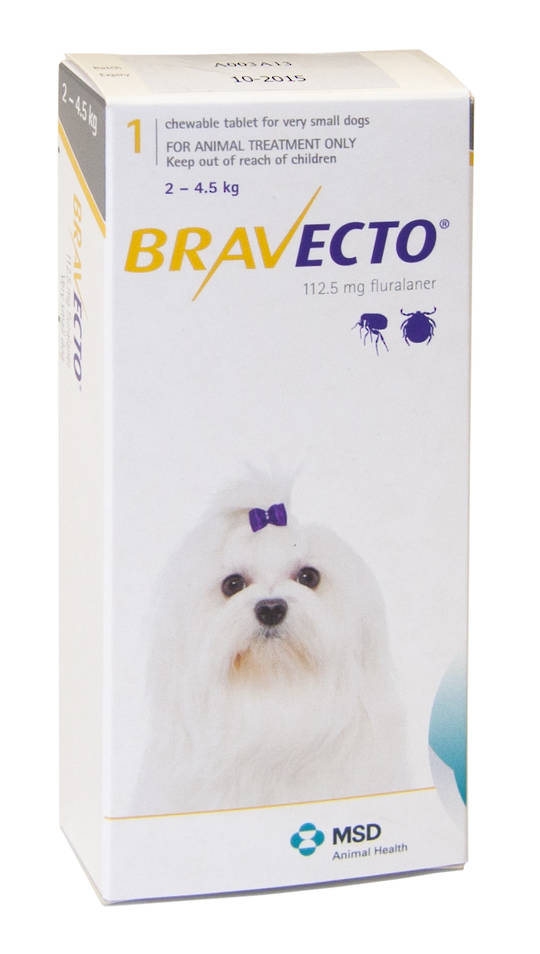 Bravecto  Chewable Flea Treatment for Xsmall Dogs (Yellow)
