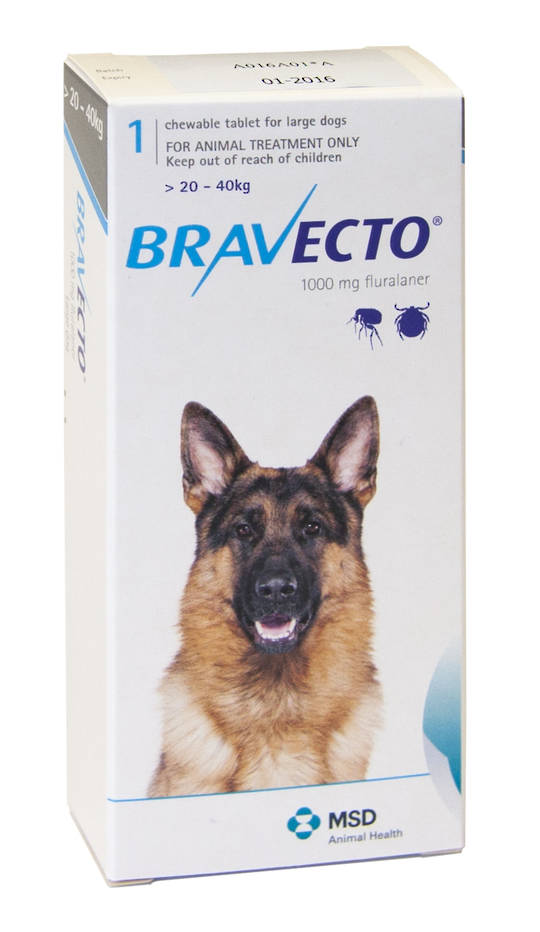 Bravecto  Chewable Flea Treatment for Large Dogs (Blue)