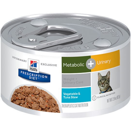Hill's Prescription Diet Feline Metabolic Plus Urinary Cans Tuna & Vegetable Stew for Cats 82g