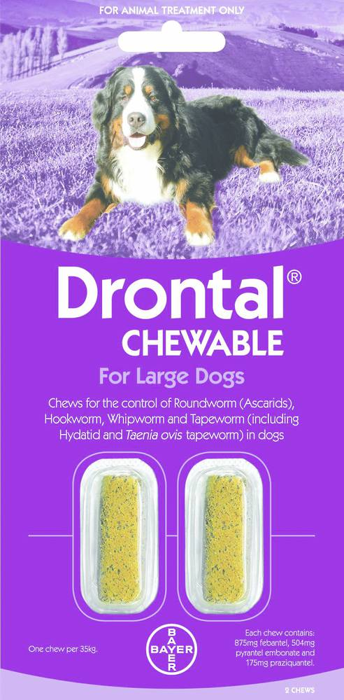 Drontal Chewable for Dogs (20-35kg) 2chews