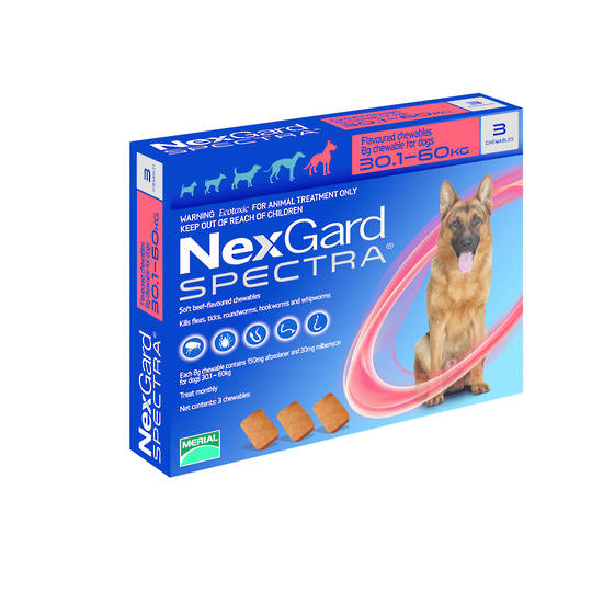 NexGard Chewable Flea & Worm Treatment for Very Large Dog (Red / 3 chewable)