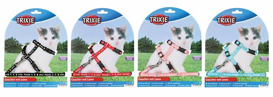 Trixie Kitten Harness & Lead (Black, Red, Pink or Blue)