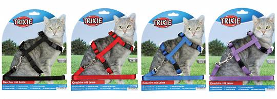 Trixie Cat Harness & Lead (Black, Red, Blue or Purple)