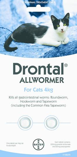 Drontal Allwormer Tablet for Cats (Up to 4kg) 2tablets