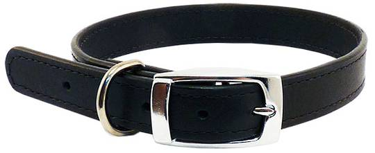 Leather Stitched Collar Black (12mm x 35cm)