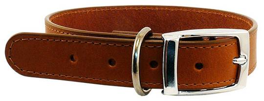 Leather Stitched Collar Cognac (12mm x 35cm)