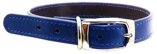 Leather Stitched Collar Blue (32mm x 60cm)