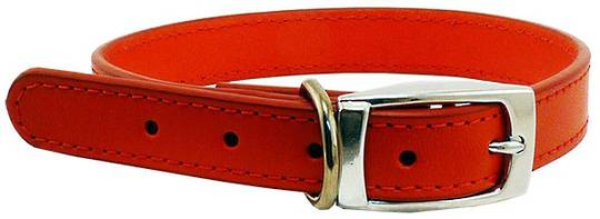 Leather Stitched Collar Red (23mm x 50cm)