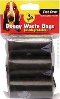 Pet One Doggy Waste Bags 3pack x 20pcs/Roll (Biodegradable)