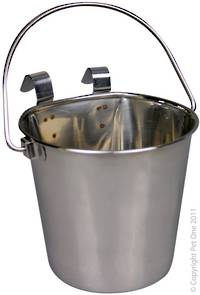 Pet One Hanging Flat Sided Stenless Steel Pail 2.25L