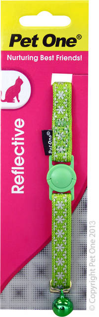 Pet One Collar for Cat & Kitten Reflective and Adjustable 10mm x 15-22.5cm Green