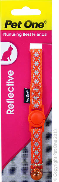 Pet One Collar for Cat & Kitten Reflective and Adjustable 10mm x 15-22.5cm Orange