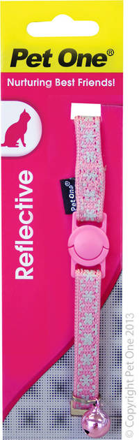 Pet One Collar for Cat & Kitten Reflective and Adjustable 10mm x 15-22.5cm Pink