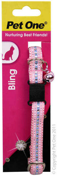 Pet One Collar for Cat & Kitten Bling with BREAKAWAY Clip 12mm x 30cm Pink