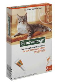 Advantage Spot-on Flea Treatment for Cats, Kittens and Rabbits Over 4kg (6)